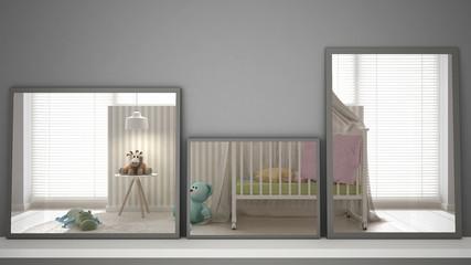Three modern mirrors on shelf or desk reflecting interior design scene, colored pastel nursery, minimalist white architecture interior design