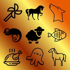 Vector icon set  about animals with 9 icons related to kitchen, friendship, leisure, wildlife and lamb
