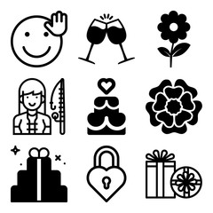 Vector icon set  about love with 9 icons related to simple, lifestyle, rusty, anniversary and sweet