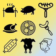 Vector icon set  about barbecue with 9 icons related to fat, organic, relish, poultry and pepper