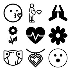 Vector icon set  about love with 9 icons related to parenthood, tummy, cheerful, fitness and child