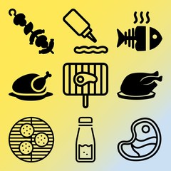Vector icon set  about barbecue with 9 icons related to steak, soy, symbol, box and beef