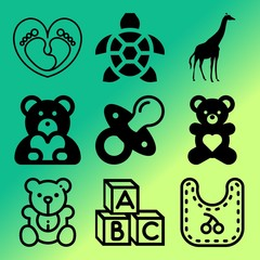 Vector icon set  about baby with 9 icons related to healthy, spots, penguin, female and baby