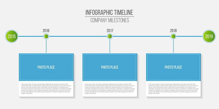 Creative vector illustration of infographic company milestones timeline template isolated on transparent background. Photo placeholders. Art design. Abstract concept process diagram, graphic element