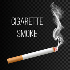 Creative vector illustration of realistic cigarette smoke isolated on transparent background. Art design different stages of burn. Abstract concept graphic element
