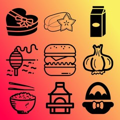 Vector icon set  about food with 9 icons related to various, braai, confectionery, celebration and uncooked