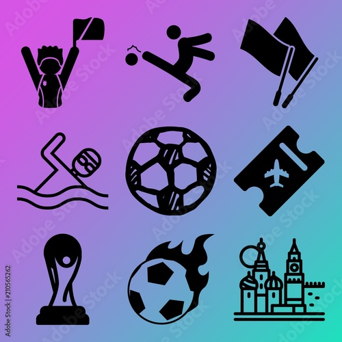 Vector icon set about soccer with 9 icons related to sunny