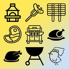 Vector icon set  about barbecue with 9 icons related to board, eating, grate, vintage and marinated
