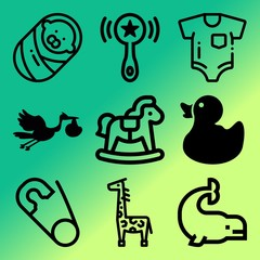 Vector icon set  about baby with 9 icons related to belly, vector, yellow, childbirth and cat