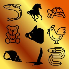 Vector icon set  about animals with 9 icons related to stallion, 3d, happy, organic and predator