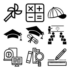Vector icon set  about education with 9 icons related to horizontal, adult, image, tool and cerebellum
