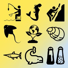 Vector icon set  about sea with 9 icons related to geography, rough, billfish, green and squirrel