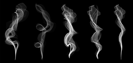Photo sur Plexiglas Fumee Creative vector illustration of delicate white cigarette smoke waves texture set isolated on transparent background. Art design. Abstract concept graphic element
