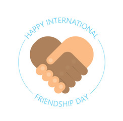 international handshake - friendship logo - Happy Friendship day vector fun design. international holiday. Usable for greeting cards, posters. Best friends forever.