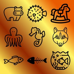 Vector icon set  about animals with 9 icons related to block, mouth, lupus, pufferfish and daycare