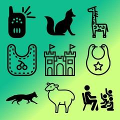Vector icon set  about baby with 9 icons related to small, rhino, background, view and symbol