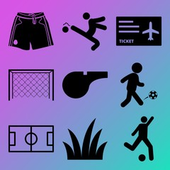 Vector icon set  about soccer with 9 icons related to material, drawing, land, day and men