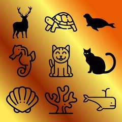 Vector icon set  about animals with 9 icons related to cat, california sea lion, face, oyster and lying