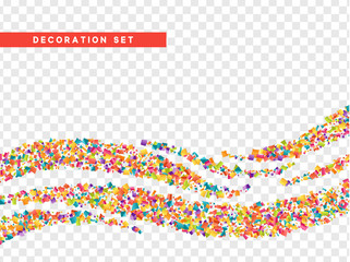 Colorful confetti and serpentine isolated on a transparent background.