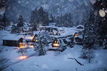富山県 五箇山 相倉合掌造集落 雪景色