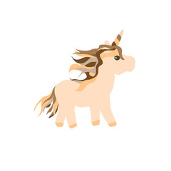 Cute cartoon Unicorn  character flat icon mascot illustration