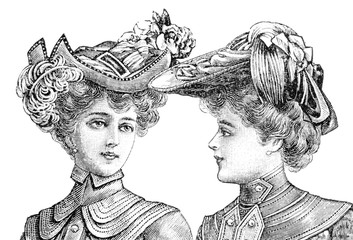 portrait of two women with vintage hats