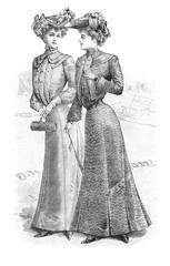 two women wearing vintage dresses