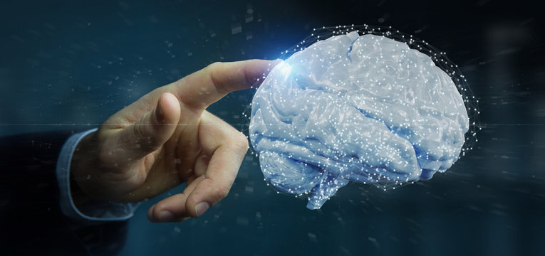 Businessman holding a 3d rendering artificial brain