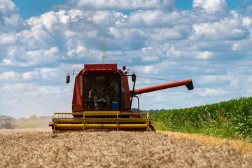 Red harvester cuts wheat in field