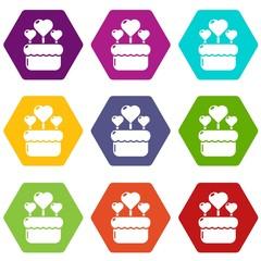 Wedding cake icons 9 set coloful isolated on white for web