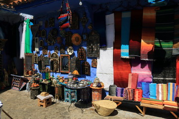 Typical Moroccan handicrafts exposed for sale in Chefchaouen, Morocco