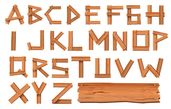Alphabet made of wooden letters isolated on white background. Vector illustration