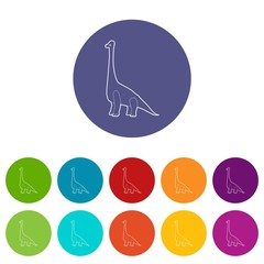 Diplodocus icons color set vector for any web design on white background