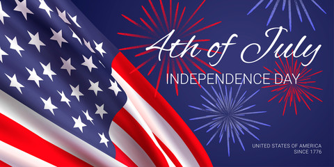 4th of July -  independence day. United States of America since 1776. Vector banner design template with american flag, fireworks and text on dark blue background.
