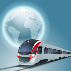 Concept travel background with high-speed train and the globe. EPS10 vector.