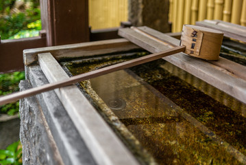 Stillness at the water basin at the entrance of a shrine in Japan for the riual Temizuya purification - 4