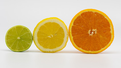 lime, lemon and orange