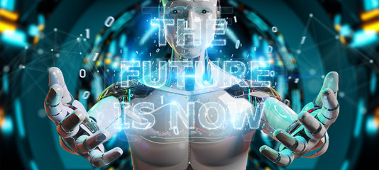 White cyborg using future decision text interface 3D rendering