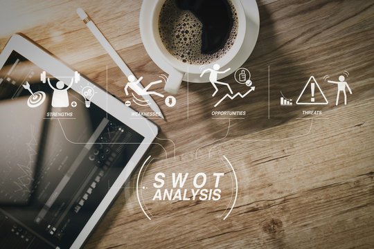Coffee cup and Digital table dock smart keyboard,eyeglasses,stylus pen on wooden table,filter effect