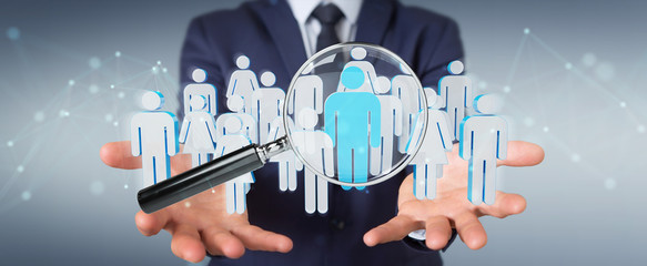 Businessman using magnifying glass to recruit people 3D rendering