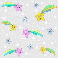 Simple pattern with stars illustration. Cartoon print. Kids art.