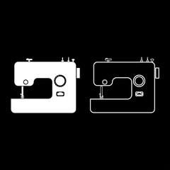 Sewing machine icon set white color illustration flat style simple image
