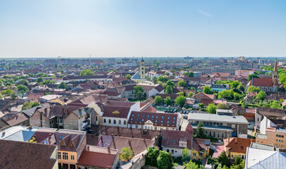 Oradea city viewed from above on a sunny day, Romania