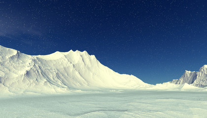 Alien Planet. Snow. Mountain and  sky. 3D rendering
