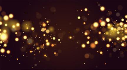 Abstract defocused circular golden bokeh sparkle glitter lights background. Magic christmas background. Elegant, shiny, metallic gold background. EPS 10