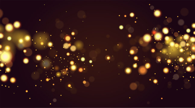 Abstract defocused circular golden bokeh sparkle glitter lights background. Magic christmas background. Elegant, shiny, metallic gold background. EPS 10