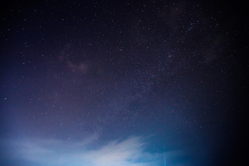 Milky way at nigh sky above mountain