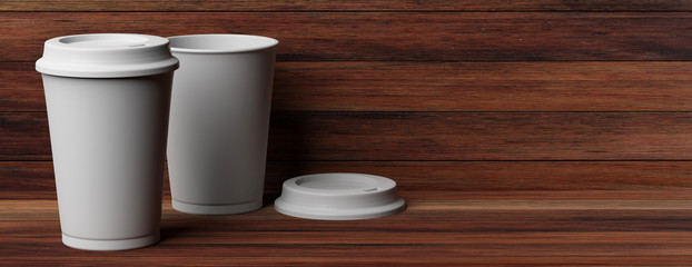 Coffee cups 2, white, with a lid,  isolated on wooden background, copy space, banner, 3d illustration.