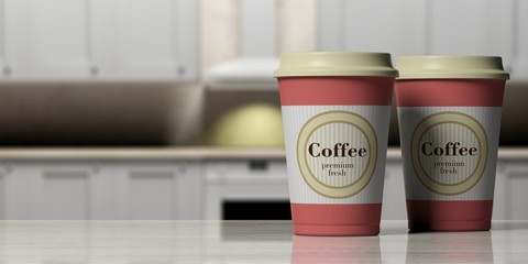 Coffee cups orange, 2, with a lid on a wooden counter in a blurry kitchen background, copy space, 3d illustration.