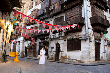 A Saudi man is pictured in the old town of Jeddah